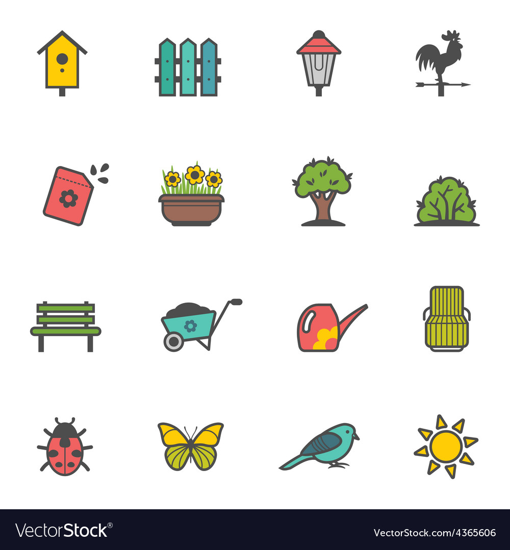 Icon set of garden tools and accessories vector   Price: 1 Credit (USD $1)