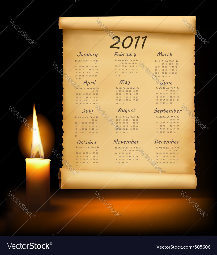 Old paper with calendar 2011 vector | Price: 3 Credit (USD $3)