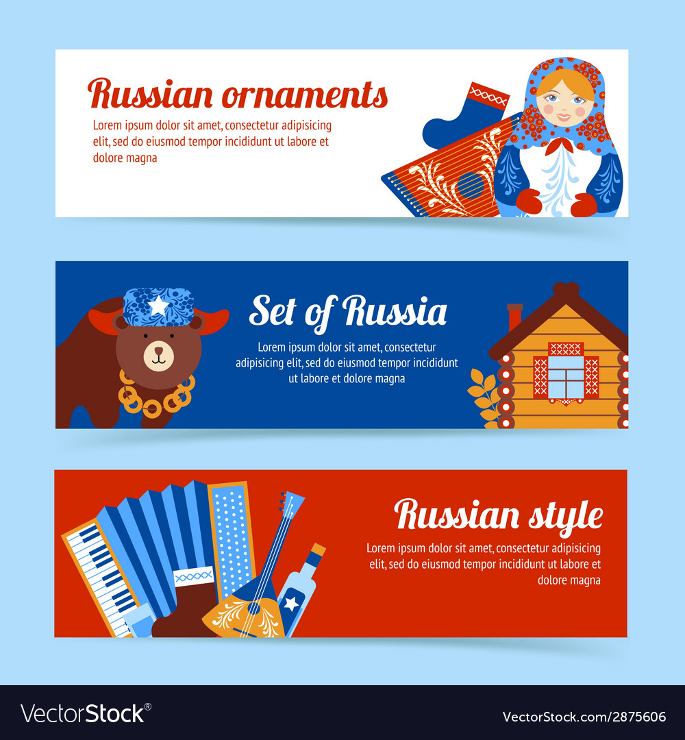 Russia travel banner set vector | Price: 1 Credit (USD $1)