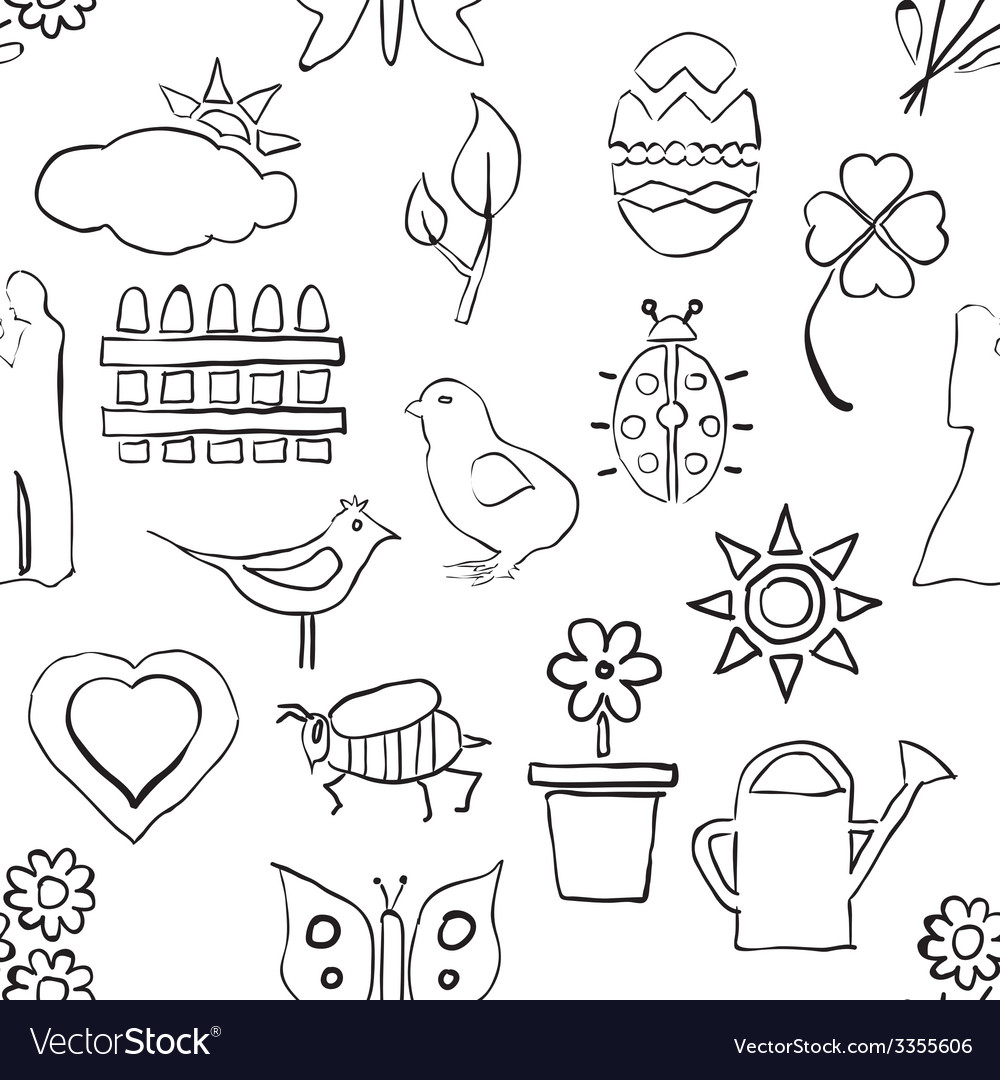 Seamless sketch spring pattern vector | Price: 1 Credit (USD $1)