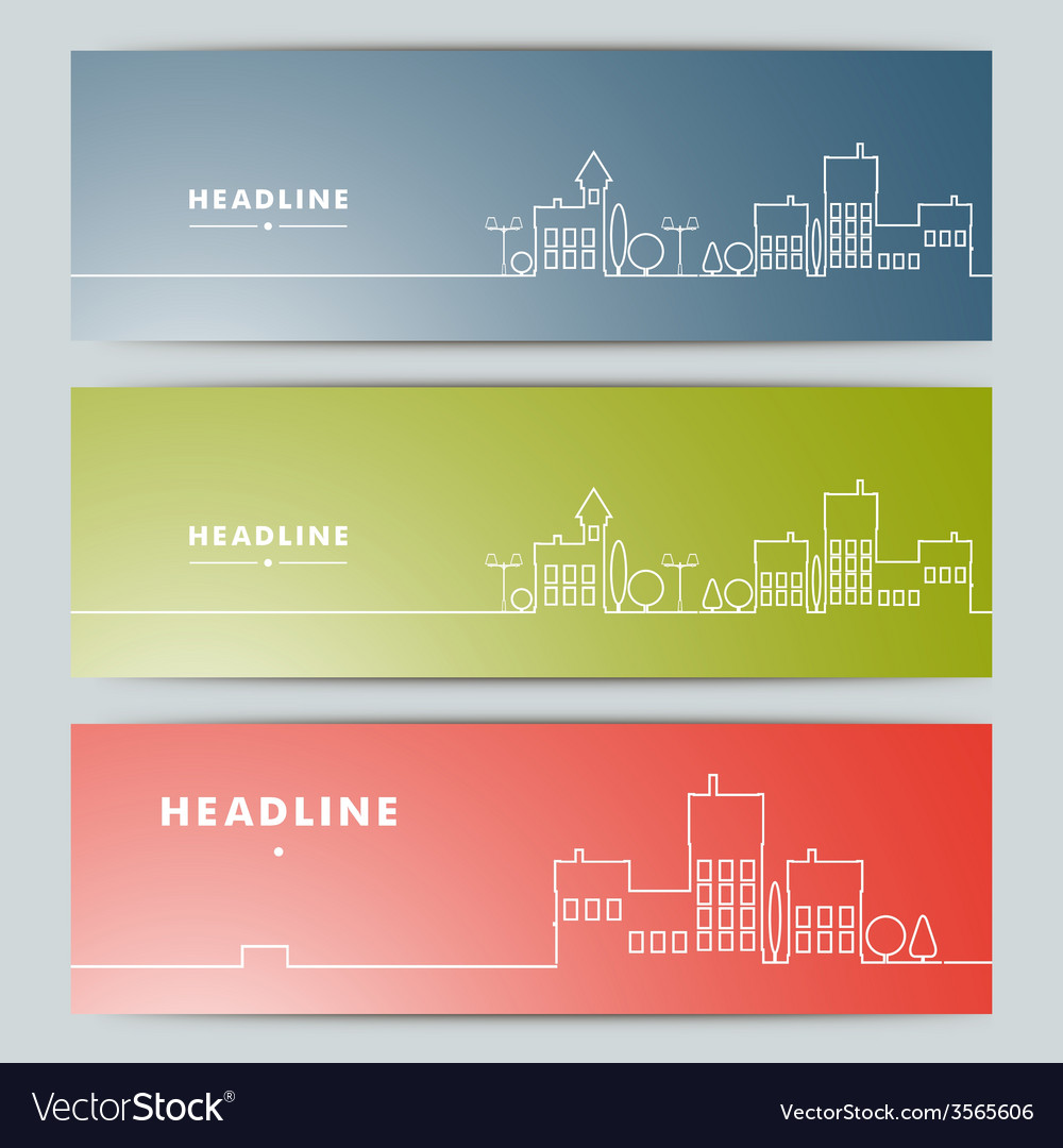 Set of banners with contour urban landscape vector | Price: 1 Credit (USD $1)