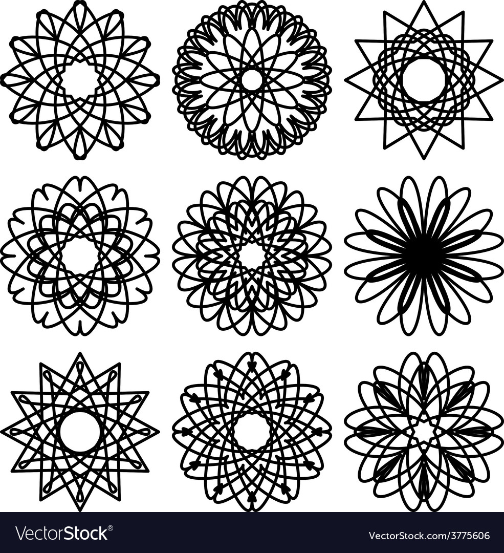 Set of circular ornaments vector | Price: 1 Credit (USD $1)