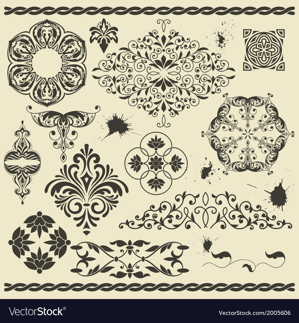 Set of floral design elements and blots vector | Price: 1 Credit (USD $1)