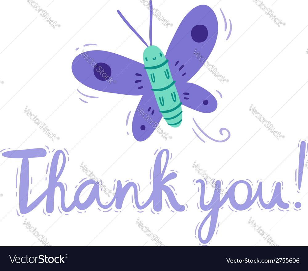 Thank you butterfly card vector