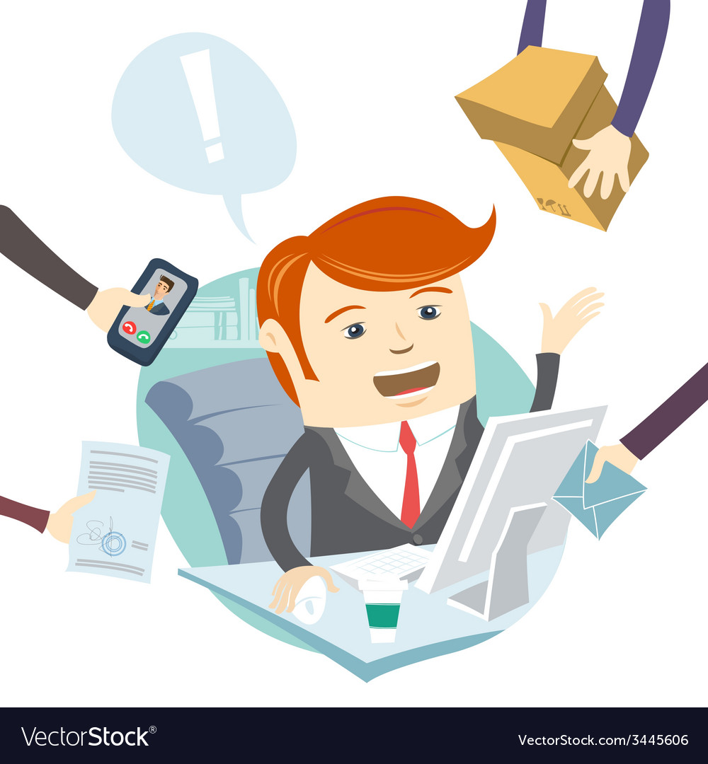 Very busy office man working hard vector | Price: 1 Credit (USD $1)