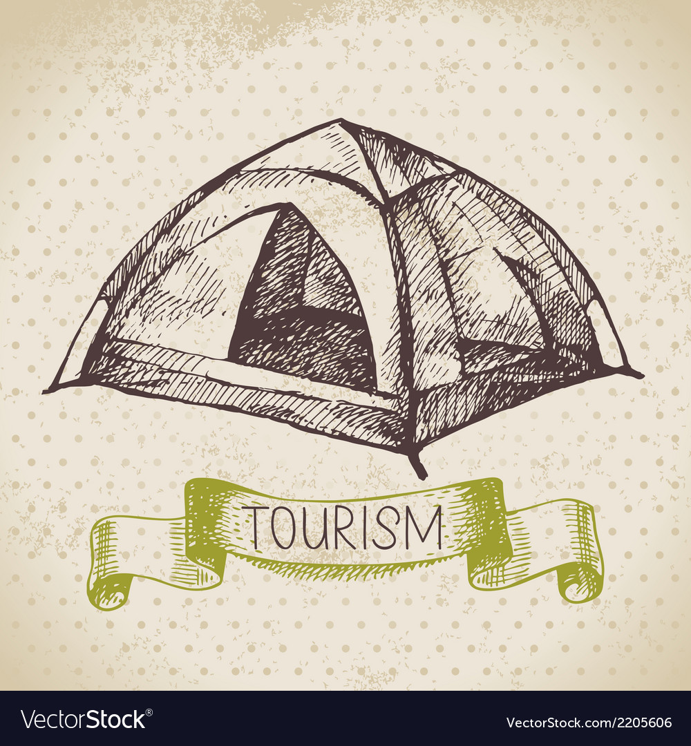 Vintage sketch tourism background vector | Price: 1 Credit (USD $1)