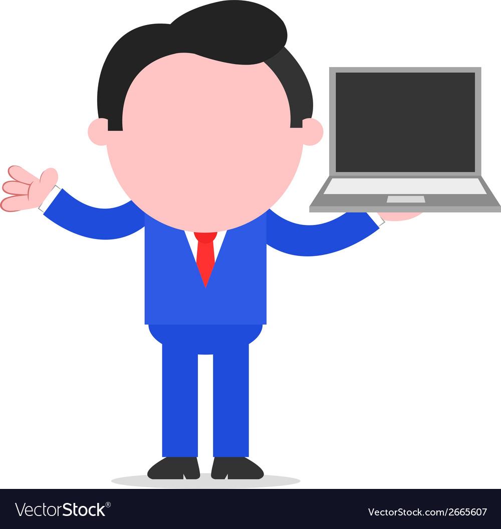 Businessman holding laptop vector | Price: 1 Credit (USD $1)