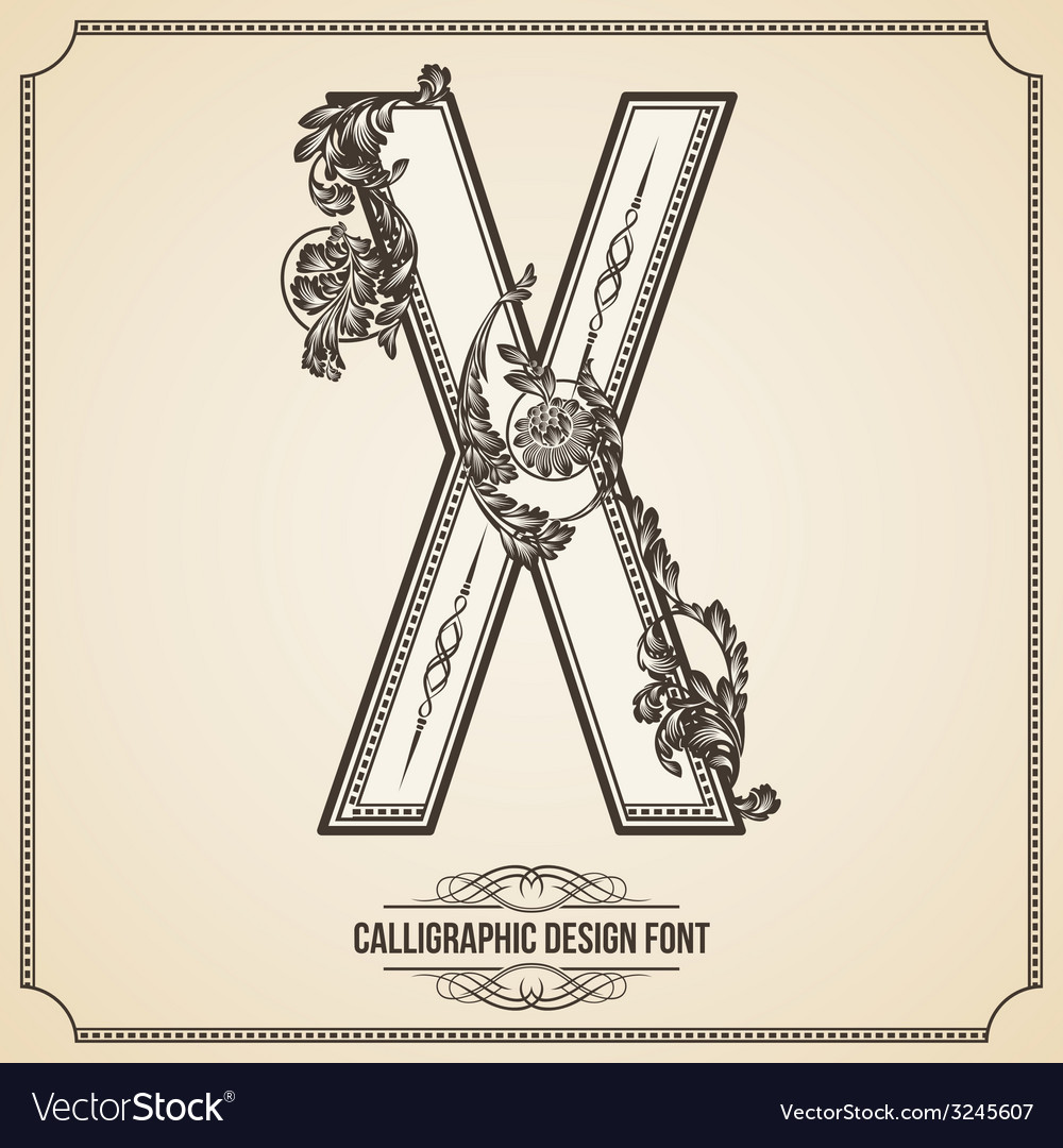 Calligraphic font letter x vector | Price: 1 Credit (USD $1)