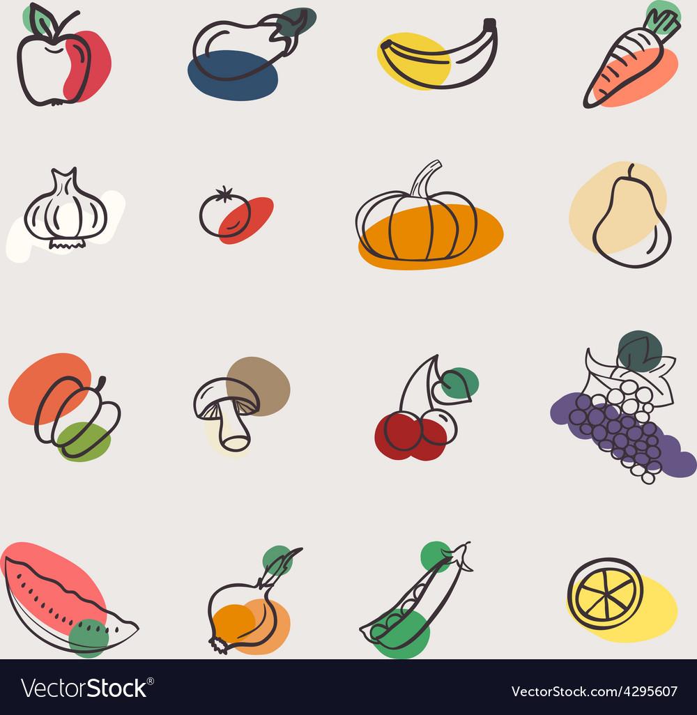 Eatset of vegetables vector | Price: 1 Credit (USD $1)