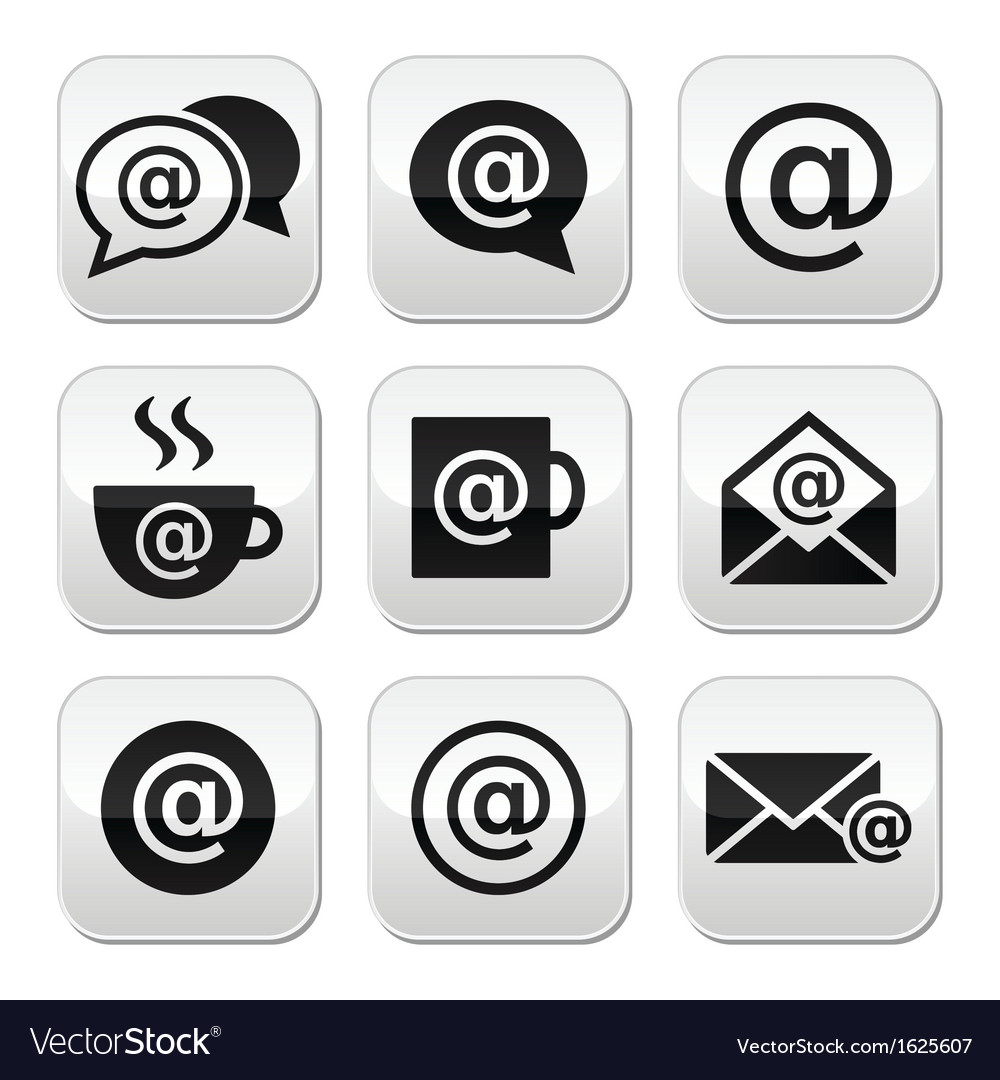 Email internet cafe wifi buttons set vector | Price: 1 Credit (USD $1)