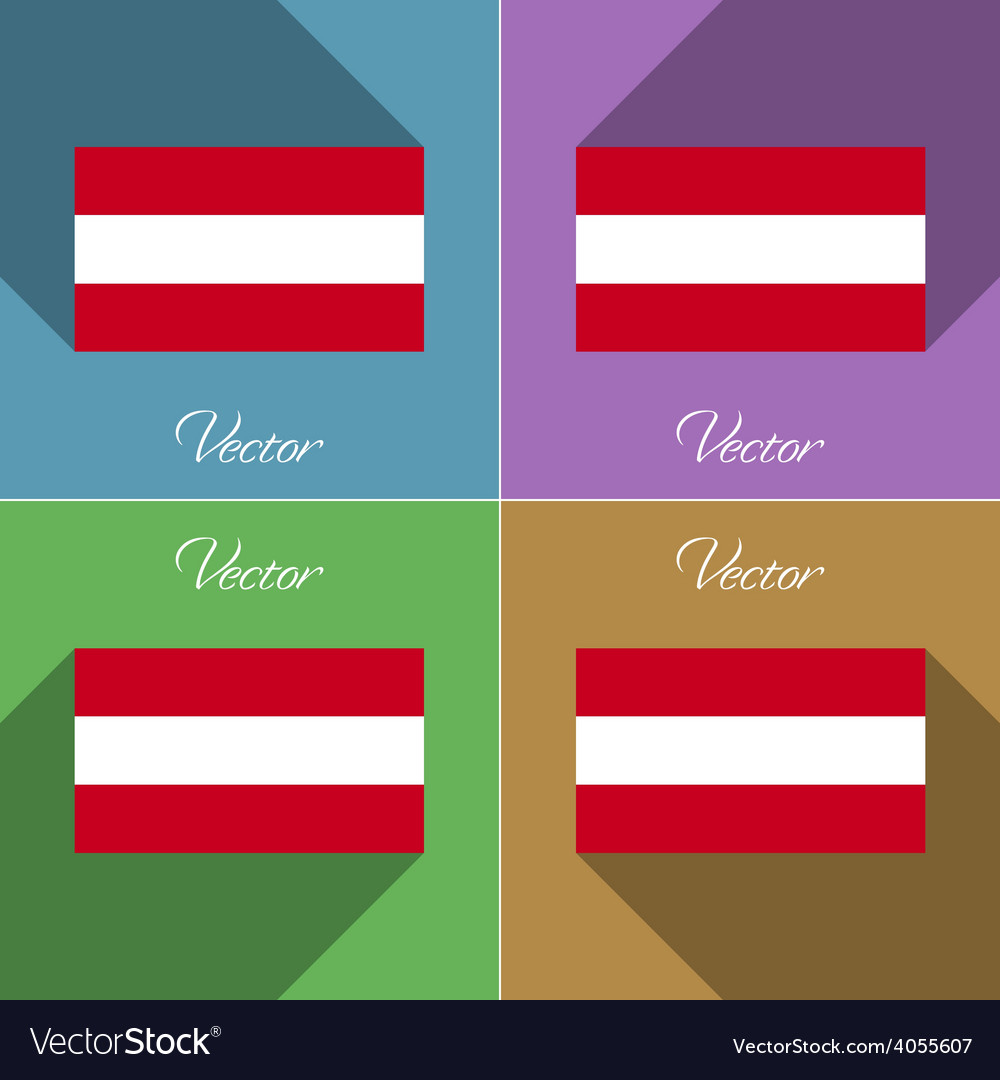 Flags austria set of colors flat design and long vector | Price: 1 Credit (USD $1)