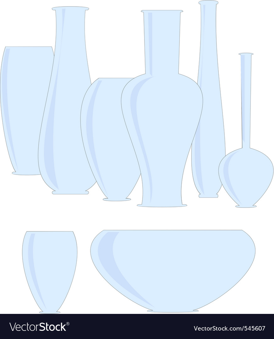 Isolated set  ceramics vases vector | Price: 1 Credit (USD $1)