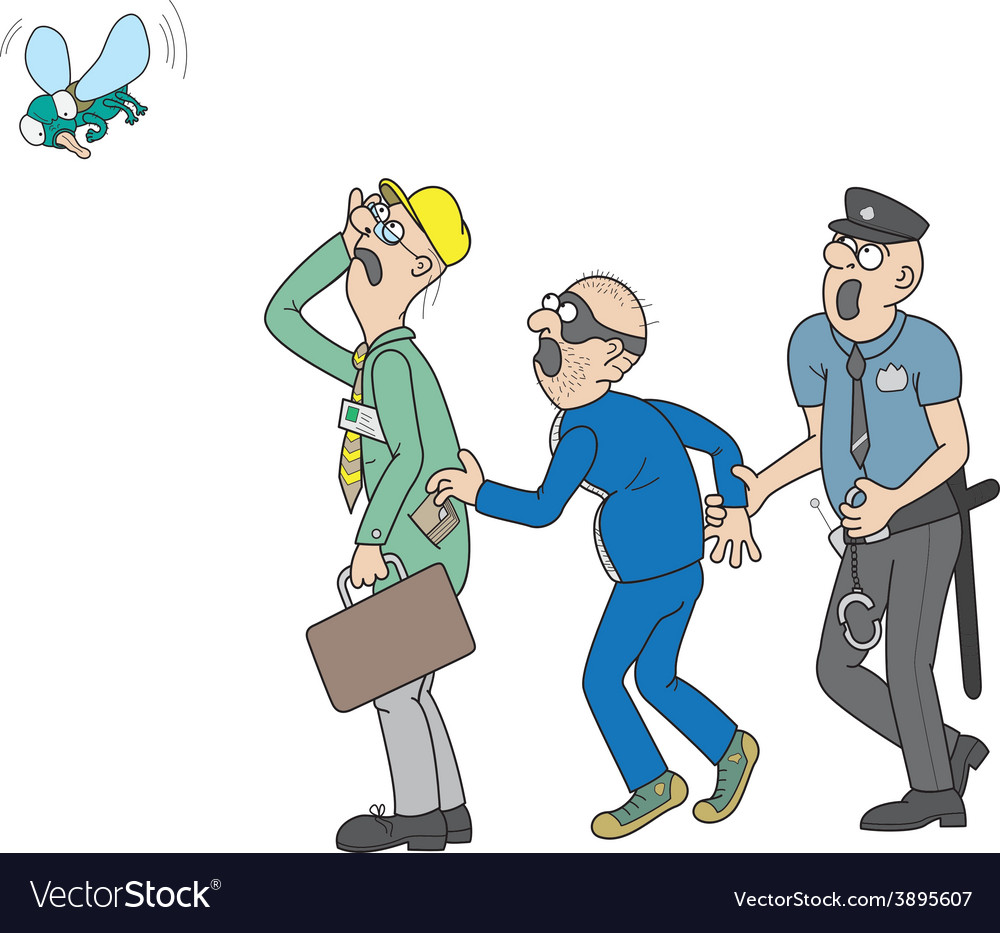 Office worker a pickpocket a policeman and a fly vector | Price: 1 Credit (USD $1)