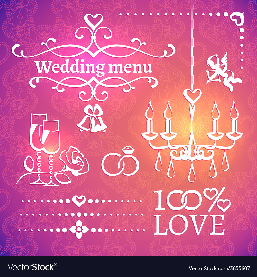 Set of wedding design elements vector   Price: 1 Credit (USD $1)