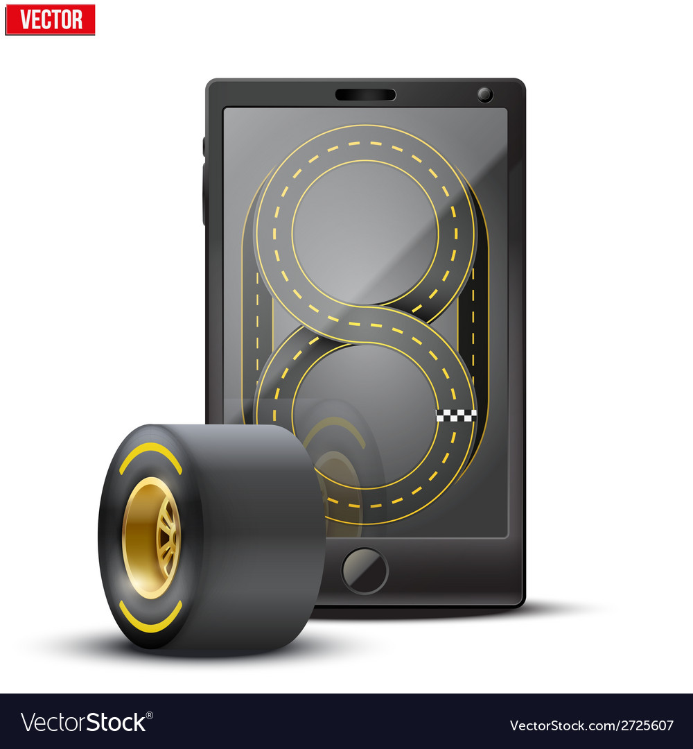 Smartphone with racing wheel and track on the vector | Price: 1 Credit (USD $1)