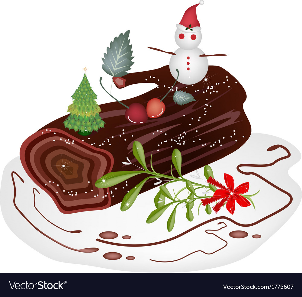 Traditional christmas cake or yule log cake vector | Price: 1 Credit (USD $1)