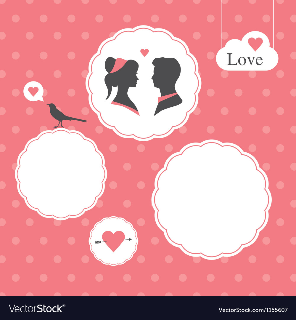Valentines day card background template vector | Price: 1 Credit (USD $1)