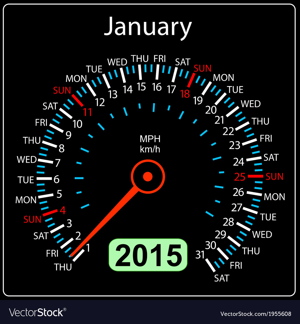 2015 year calendar speedometer car in  january vector   Price: 1 Credit (USD $1)