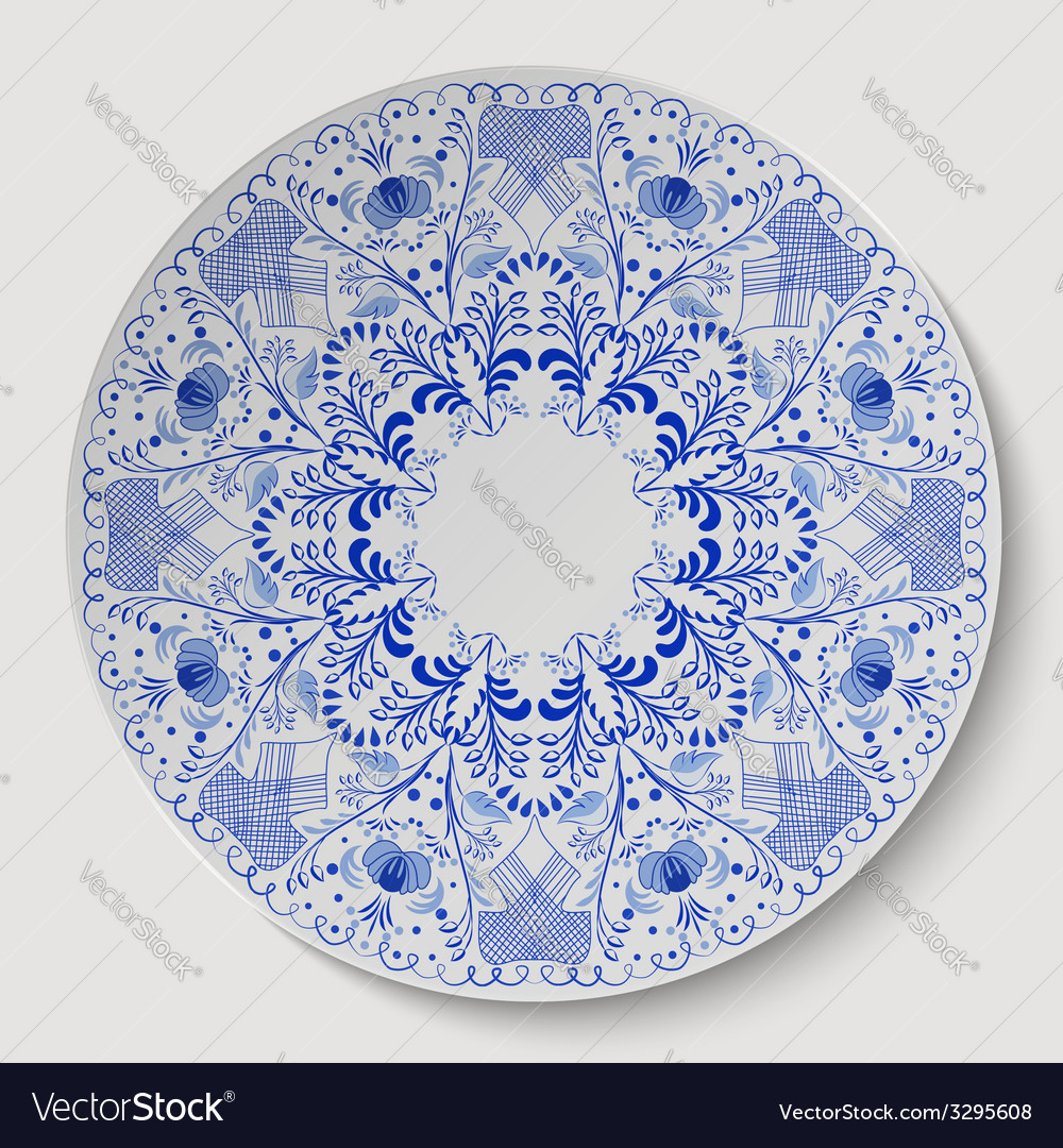 Blue round floral ornament applied to the ceramic vector   Price: 1 Credit (USD $1)