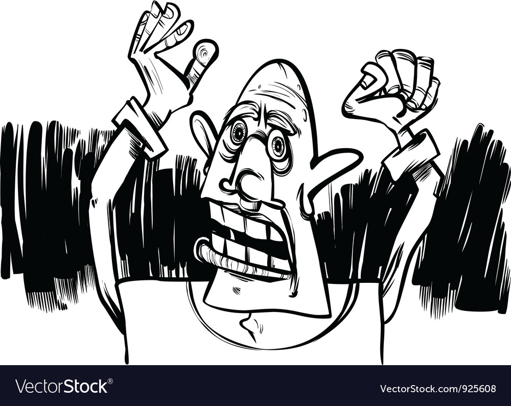 Cartoon sketch of scared man vector | Price: 1 Credit (USD $1)