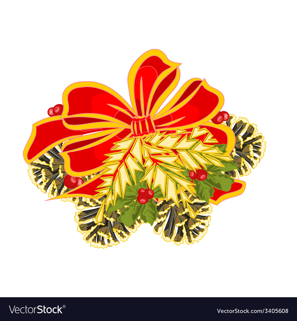 Christmas decoration bows with pine cones vector | Price: 1 Credit (USD $1)