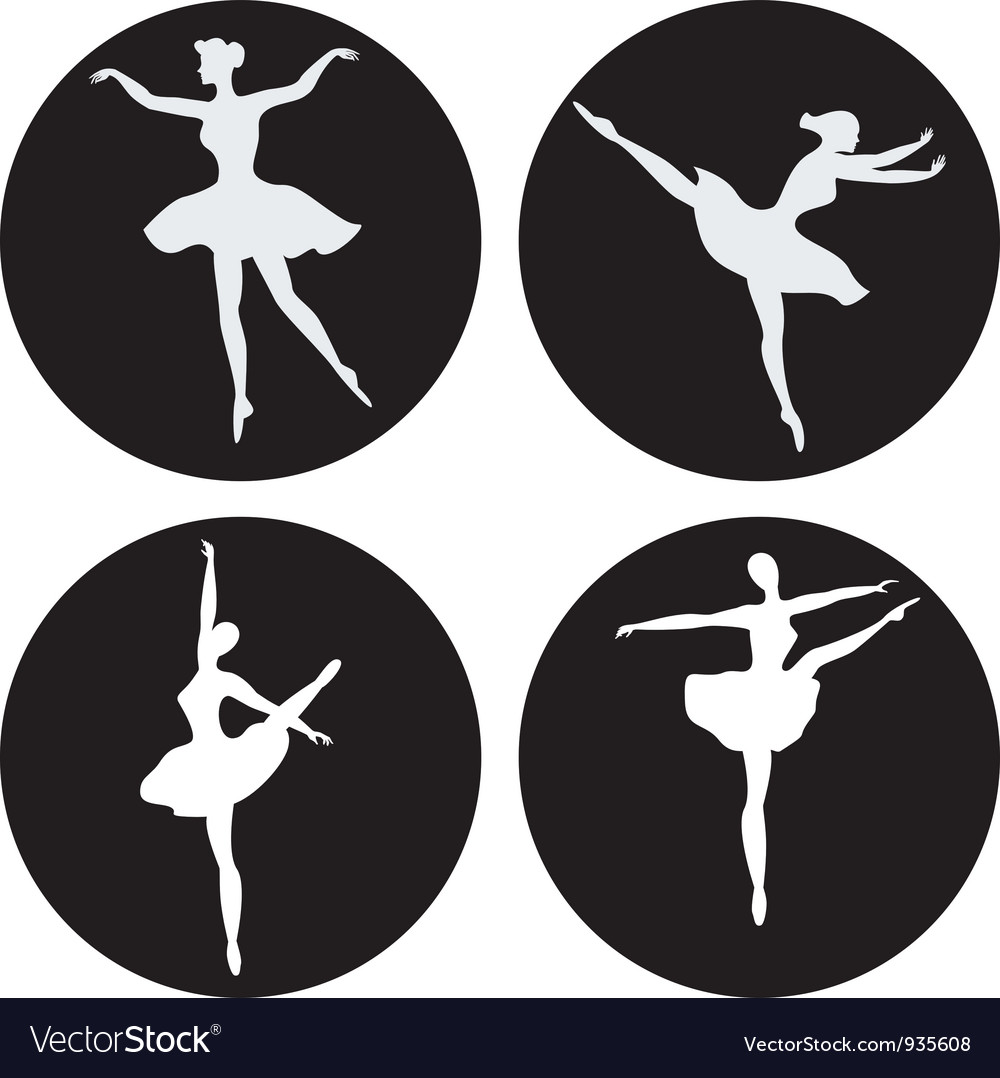 Dancing ballerina silhouettes vector | Price: 1 Credit (USD $1)