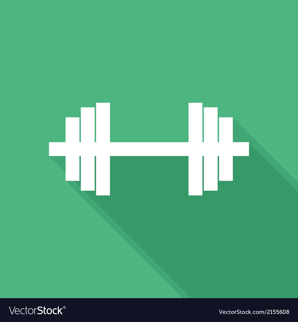 Flat long shadow barbell icon vector | Price: 1 Credit (USD $1)