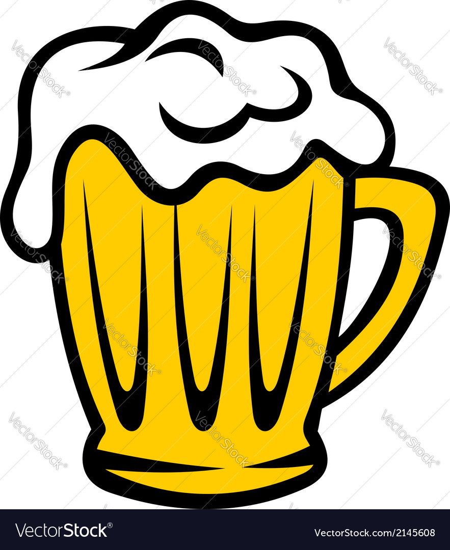 Golden tankard of beer with a frothy head vector | Price: 1 Credit (USD $1)