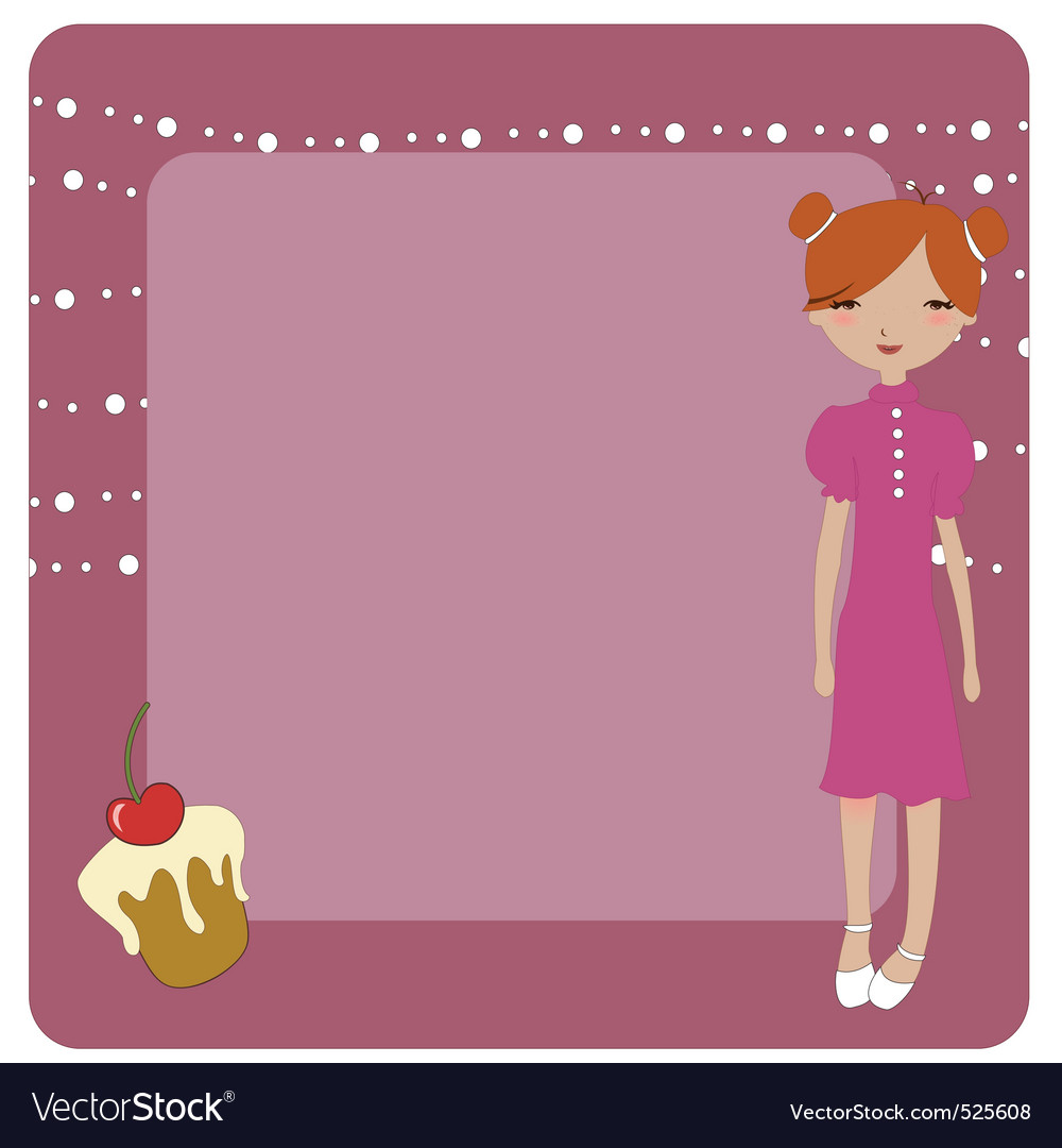 Invitation frame with funky young girl vector | Price: 1 Credit (USD $1)
