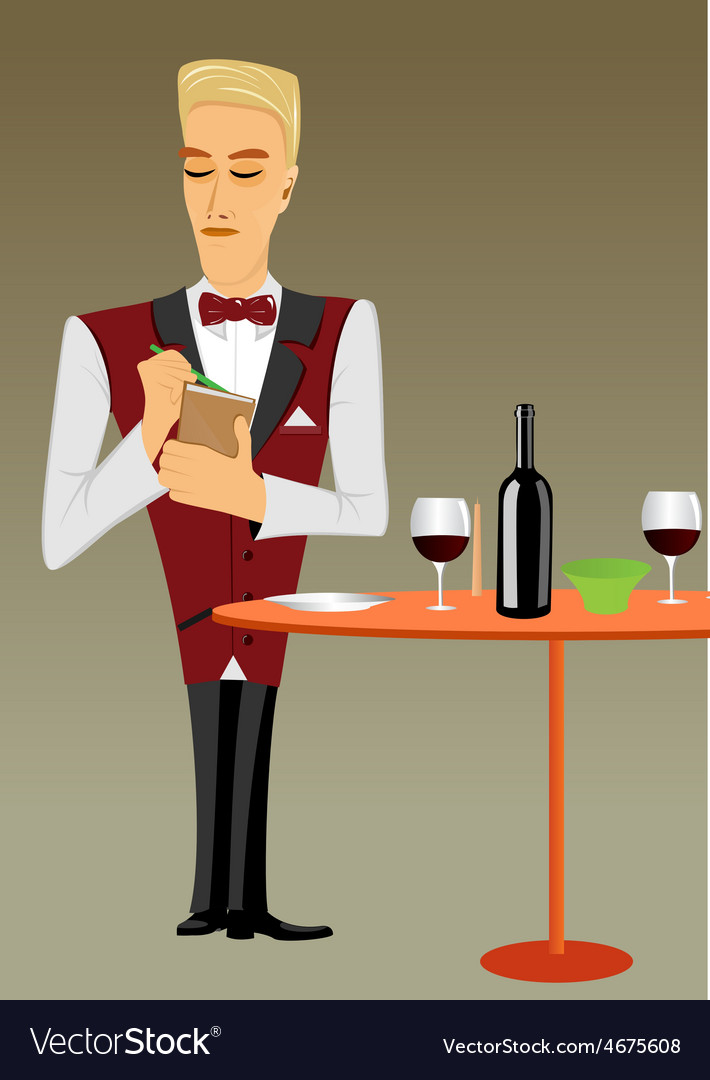 Meticulous punctual waiter taking order vector | Price: 1 Credit (USD $1)