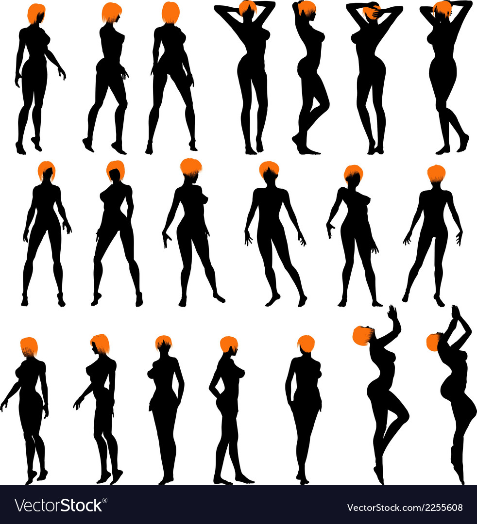 Naked girls silhouette set vector | Price: 1 Credit (USD $1)