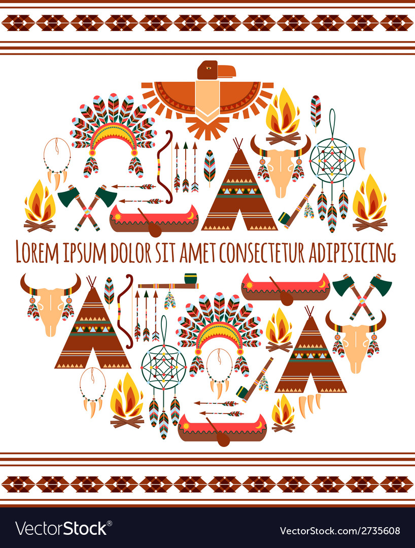 Seamless colored tribal american badge label vector | Price: 1 Credit (USD $1)