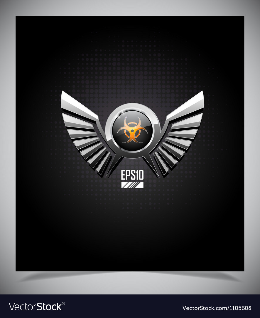 Shield with biohazard symbol and wings vector | Price: 1 Credit (USD $1)