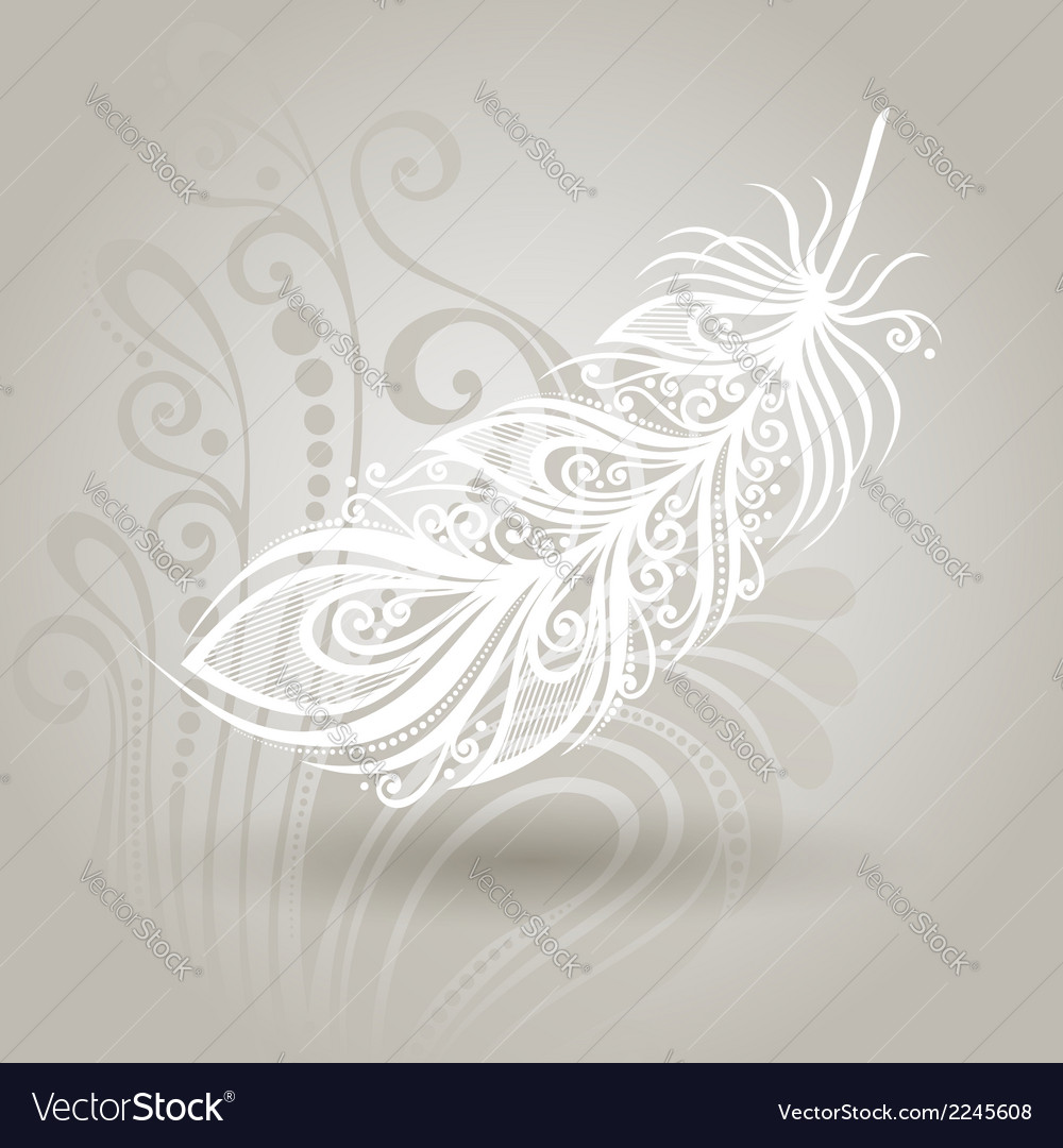Template with feather in ornate background vector | Price: 1 Credit (USD $1)