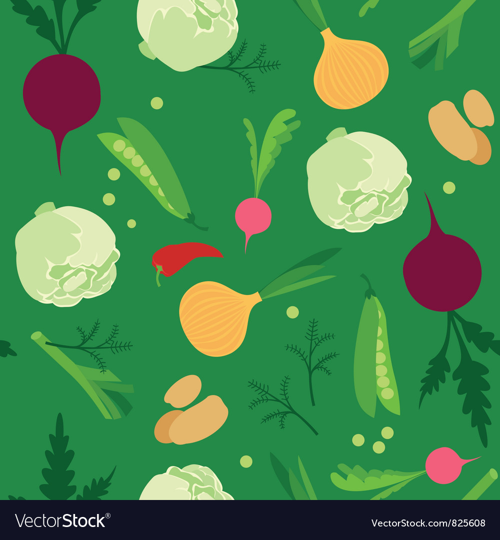 Vegetable seamless background vector | Price: 1 Credit (USD $1)