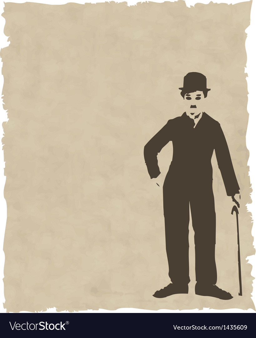Brown silhouette chaplin on old paper vector | Price: 1 Credit (USD $1)
