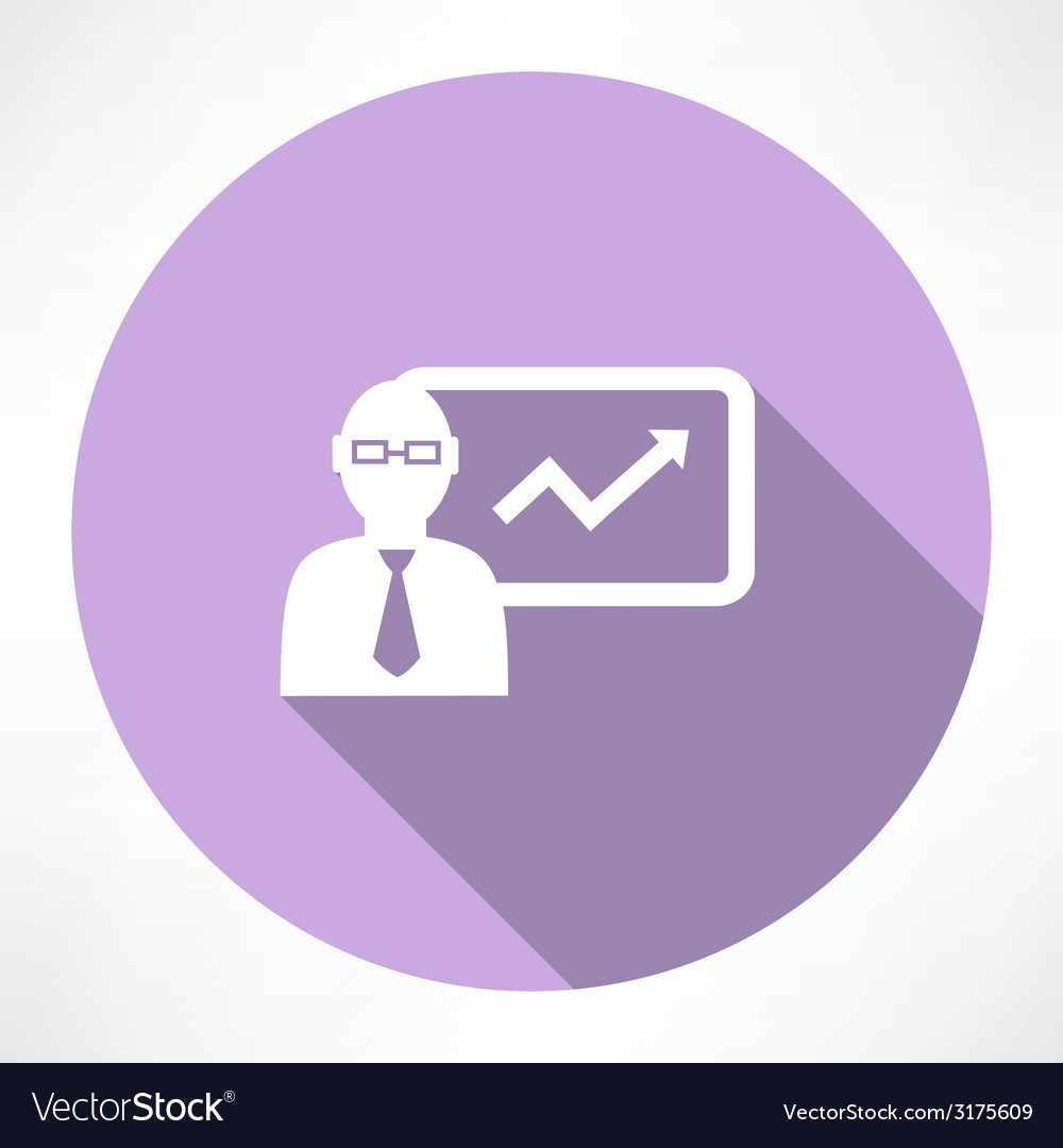 Businessman about statistics icon vector | Price: 1 Credit (USD $1)