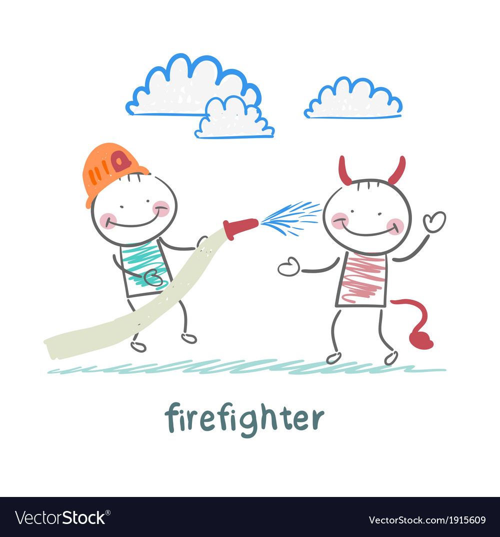 Firefighter extinguishes hell vector | Price: 1 Credit (USD $1)
