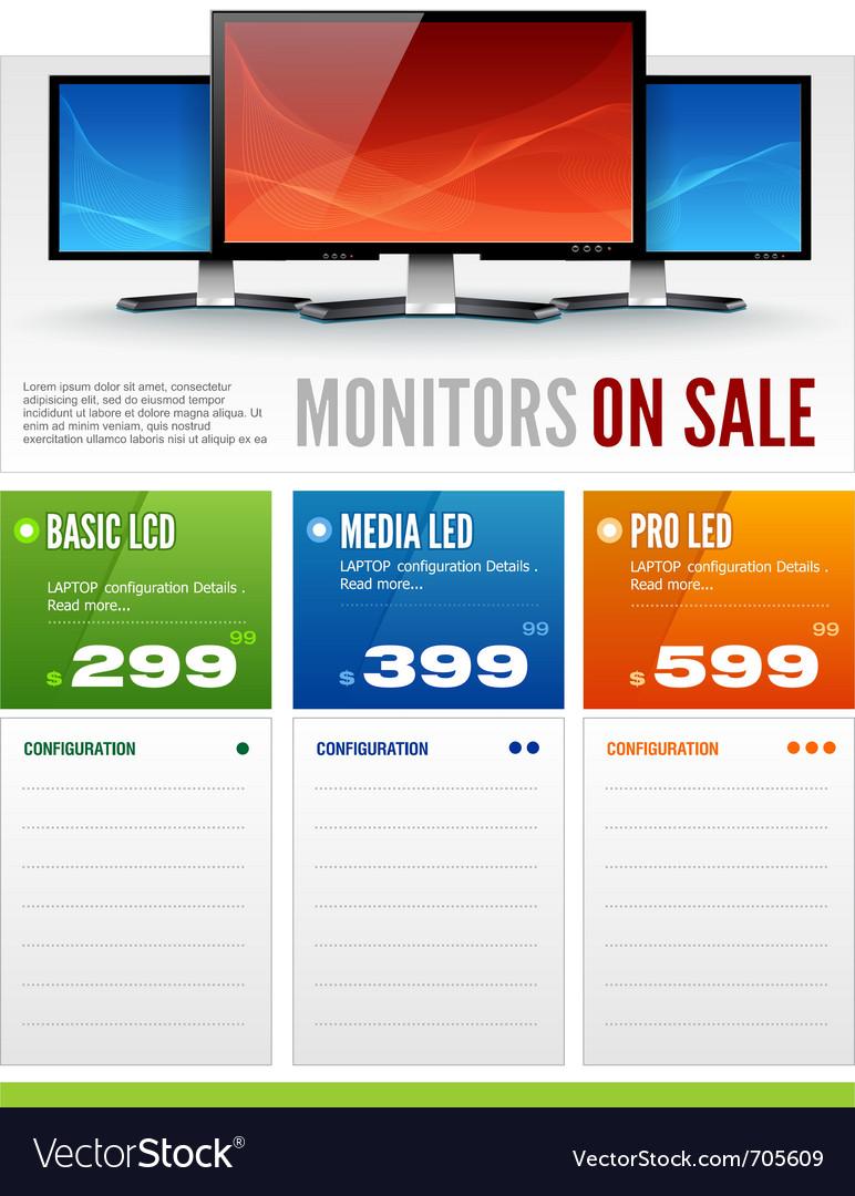 Flat lcd monitor display sale brochure vector | Price: 3 Credit (USD $3)
