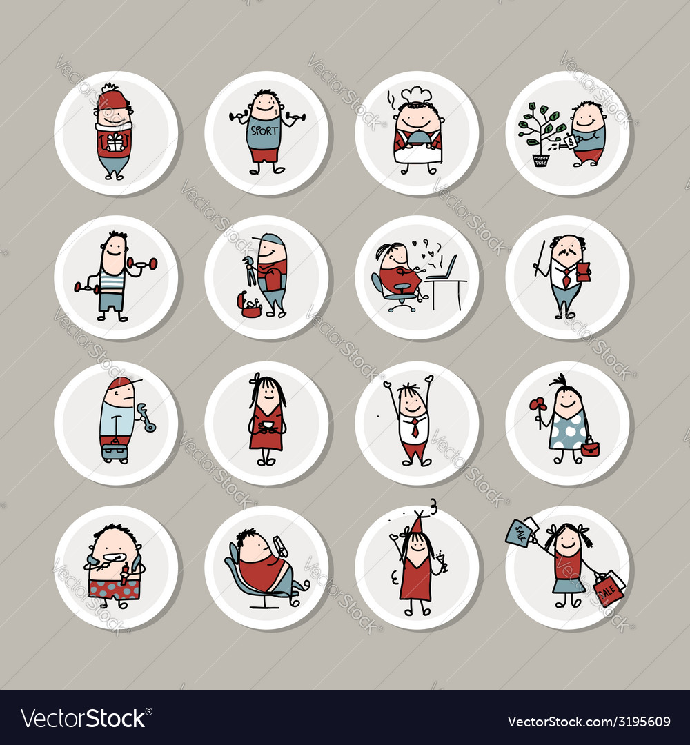 Funny people collection for your design vector | Price: 1 Credit (USD $1)