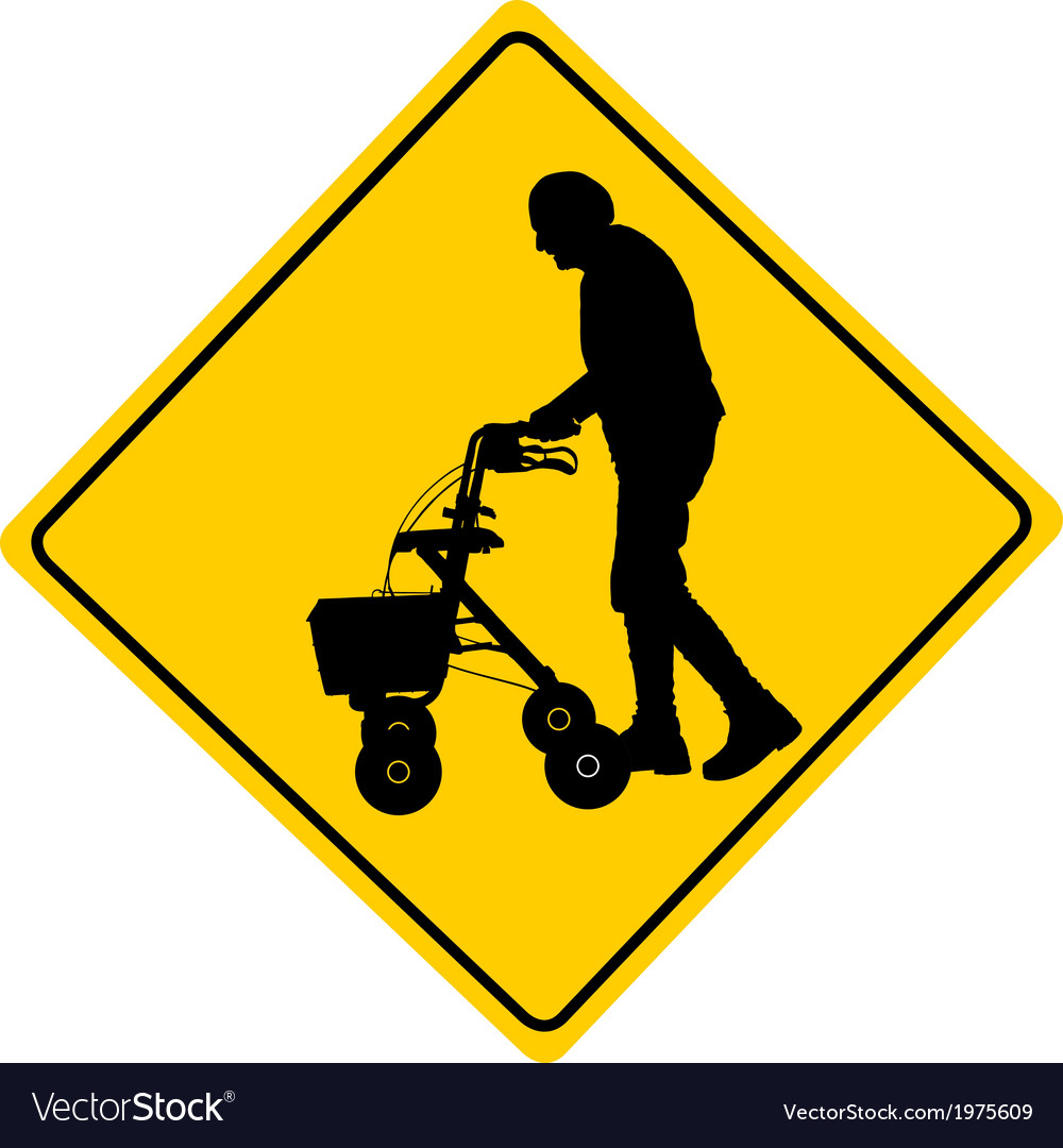 People with rollator warning sign vector | Price: 1 Credit (USD $1)