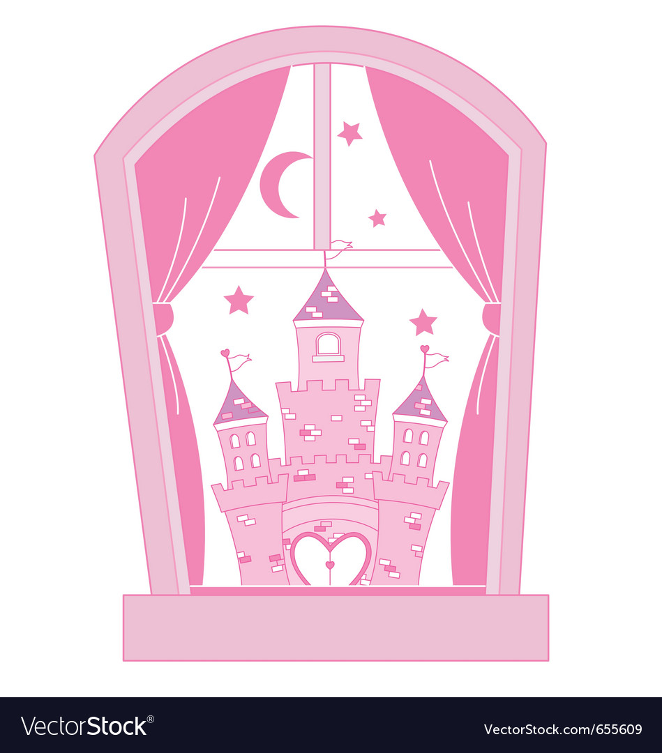 Pink princess castle vector | Price: 1 Credit (USD $1)