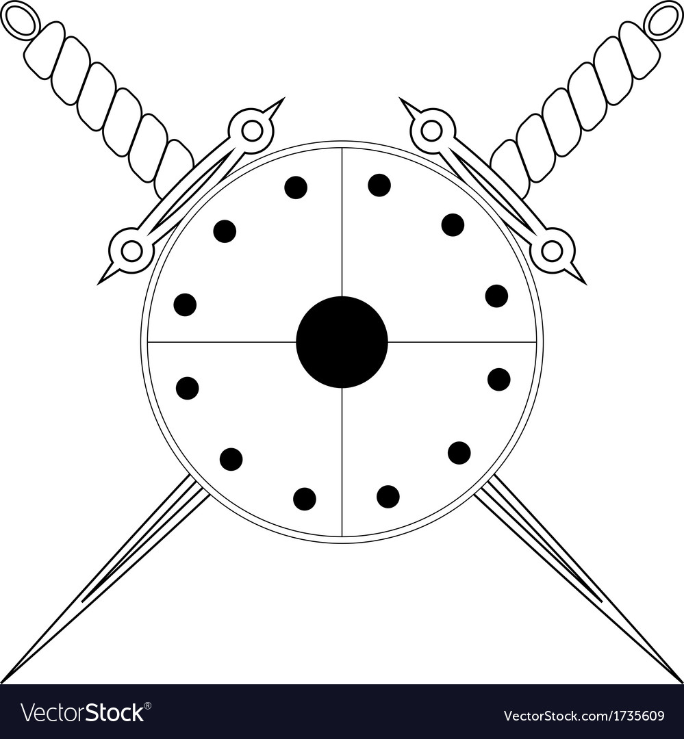Shield and two crossed swords vector | Price: 1 Credit (USD $1)