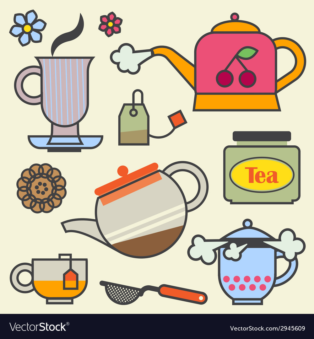 Teatime elements flat vector | Price: 1 Credit (USD $1)