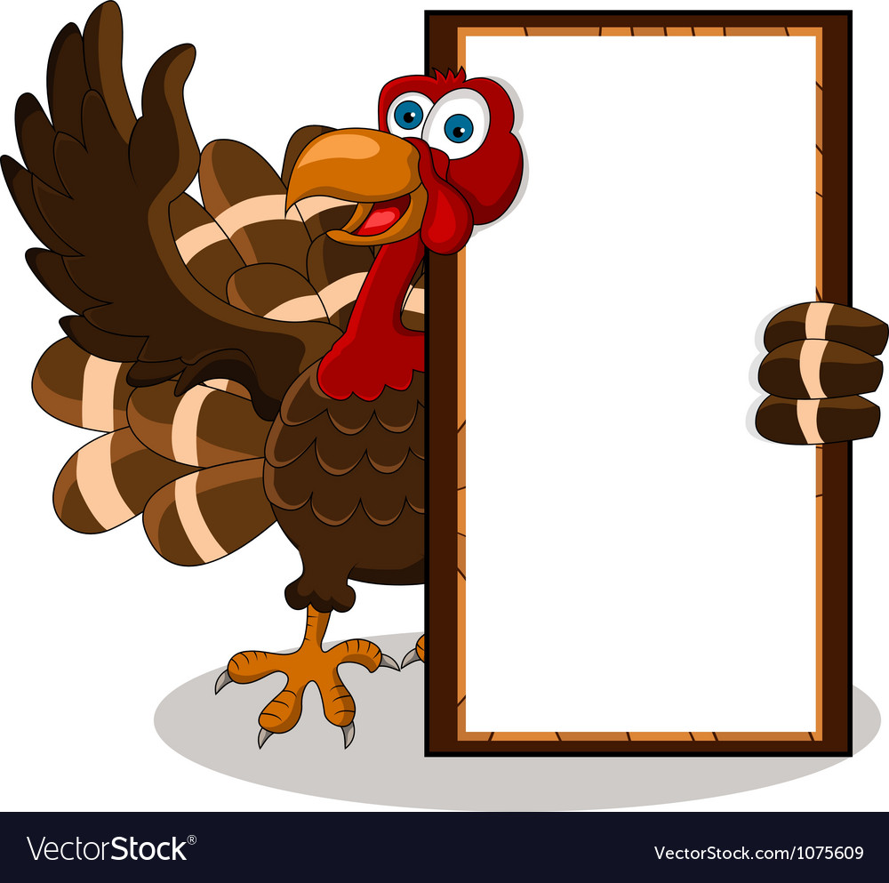 Turkey cartoon with blank board vector | Price: 3 Credit (USD $3)