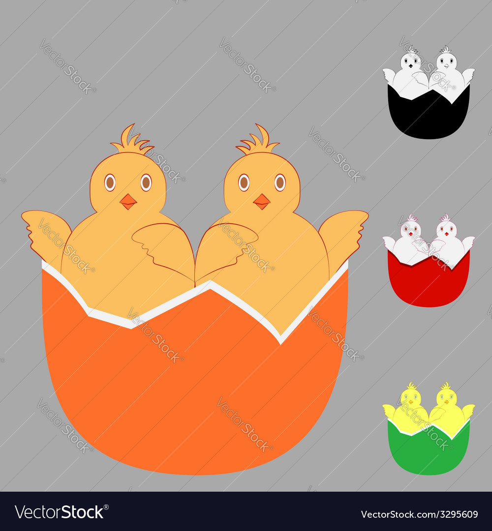 Two in one chicken egg vector | Price: 1 Credit (USD $1)