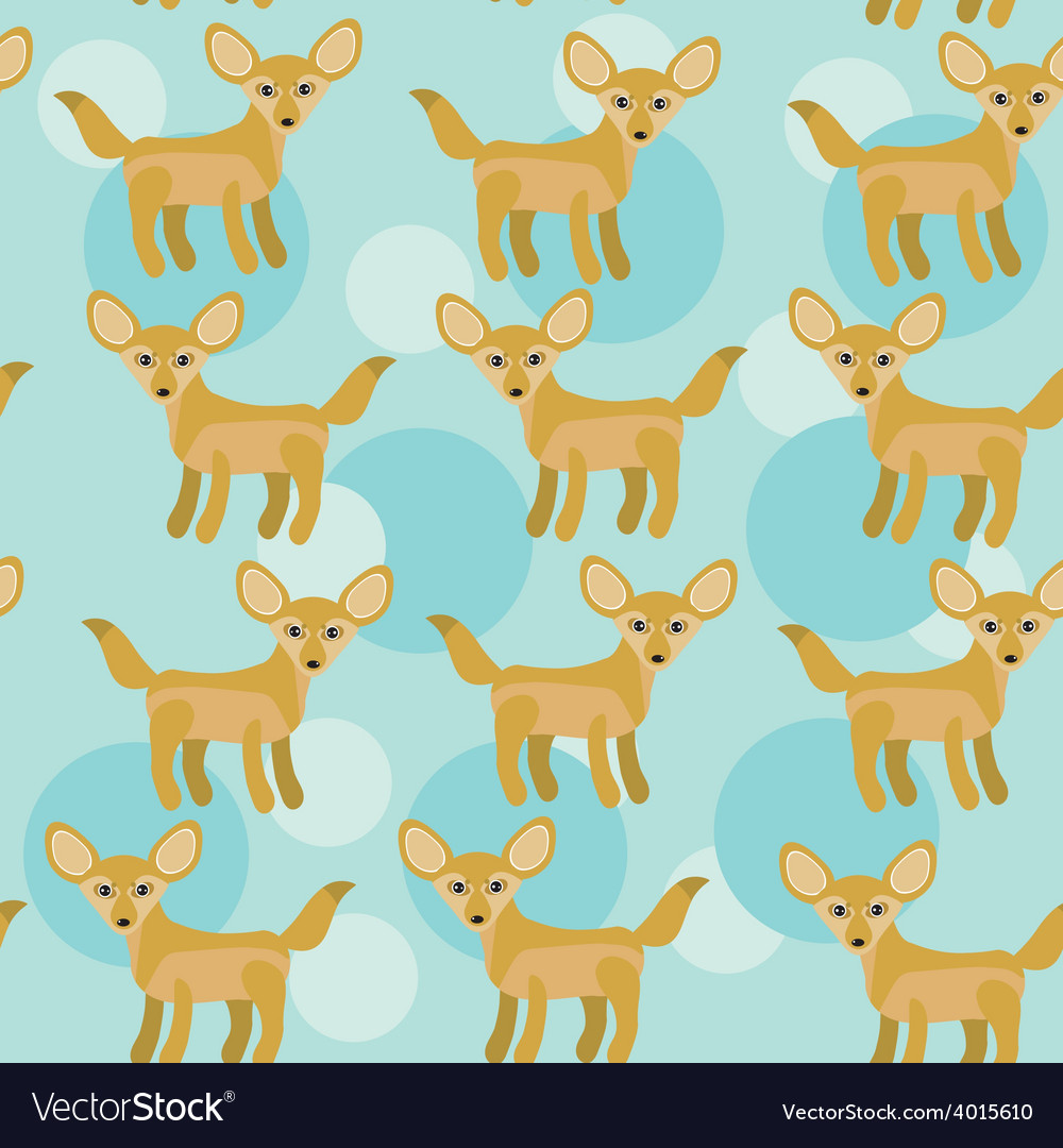 Africa fennec fox seamless pattern with funny cute vector | Price: 1 Credit (USD $1)