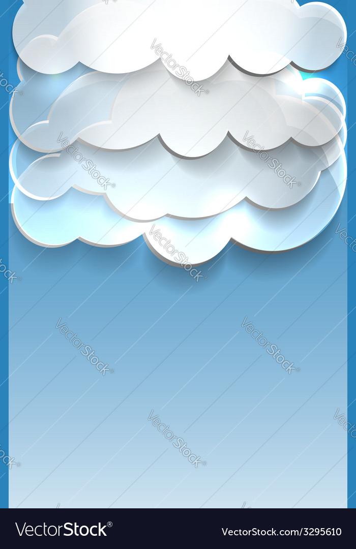 Blue background with clouds and place for text vector   Price: 1 Credit (USD $1)