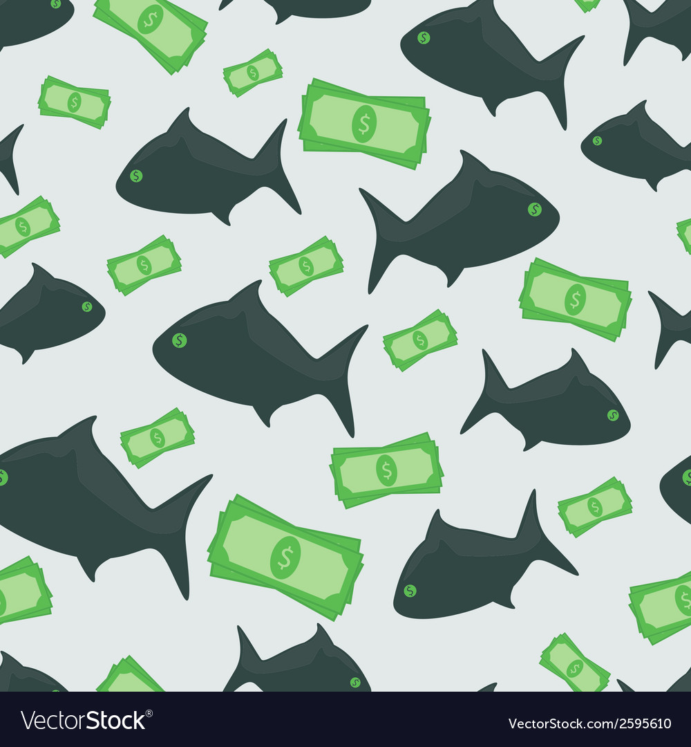 Business shark with money dollars seamless pattern vector | Price: 1 Credit (USD $1)