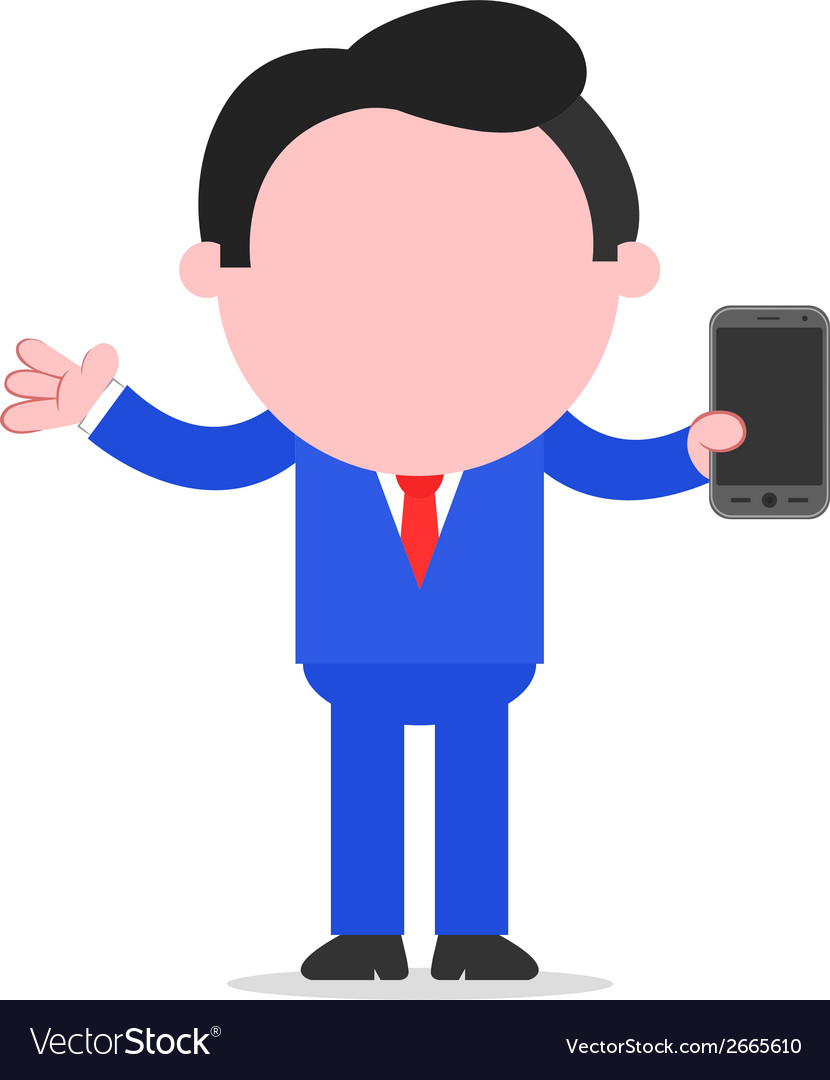Businessman holding smartphone vector | Price: 1 Credit (USD $1)